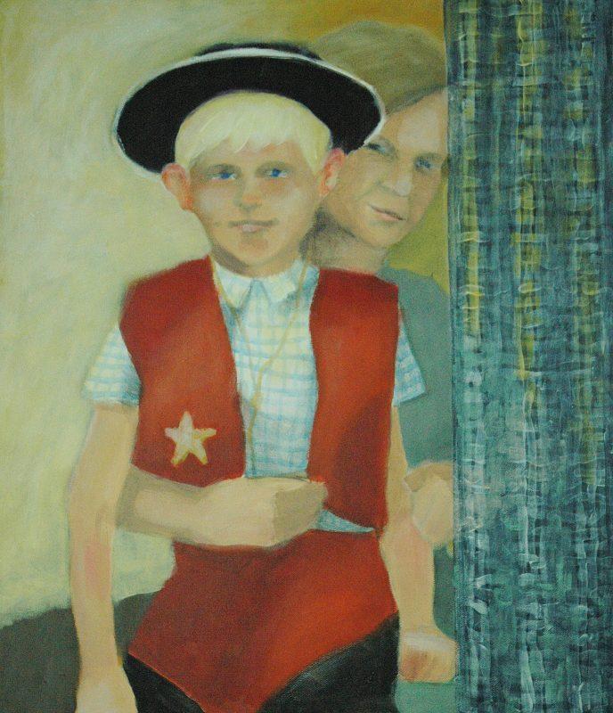 Cowboy. <br>Acrylmålning<br>43x50 cm.