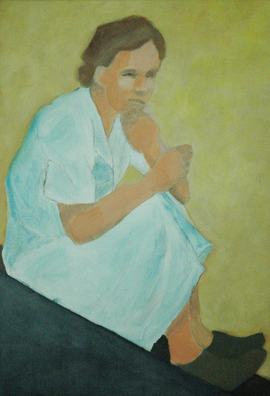 Fundersam. <br>Acrylmålning<br>37x55 cm.